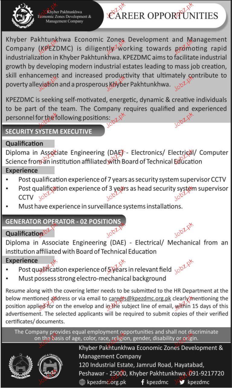 Khyber Pakhtunkhwa Economic Zone Development  Jobs