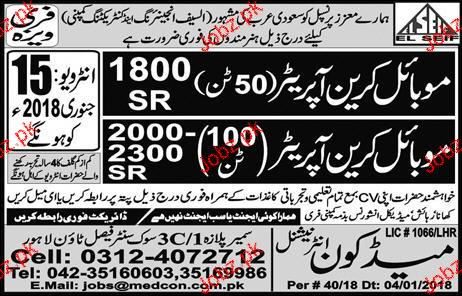 Mobile Crane Operators job Opportunity
