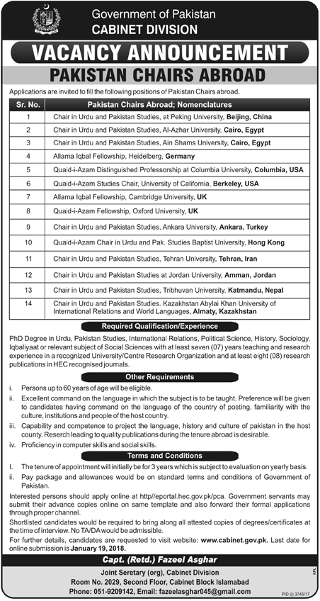 Cabinet Division Pakistan Chairs Abroad Jobs 2018