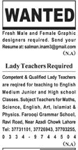 Lady Teacher Required in Lahore