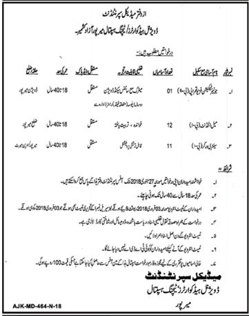 Divisional Headquarters Teaching Hospital Jobs AJK