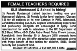 Female Teacher Jobs in SLS Montessori & School