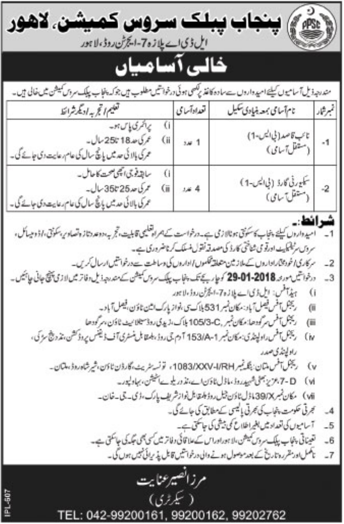 PPSC Jobs 2018 for Naib Qasid & Security Guard