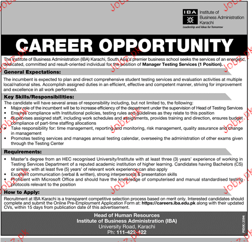 Institute of Business Administration IBA Jobs