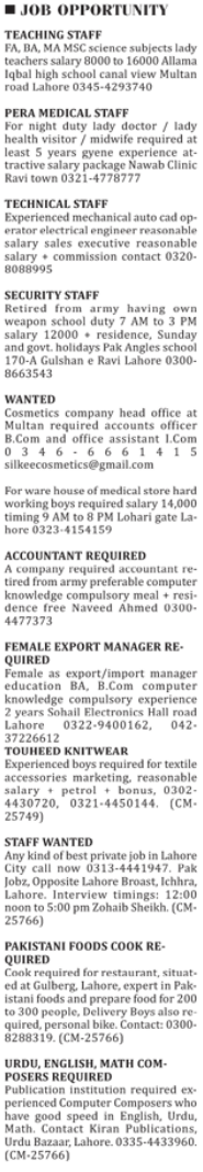 Technical & Office Staff required in Lahore