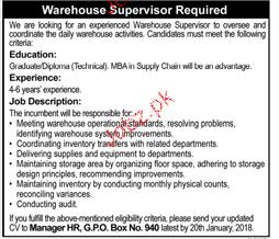 Warehouse Supervisors Job Opportunity