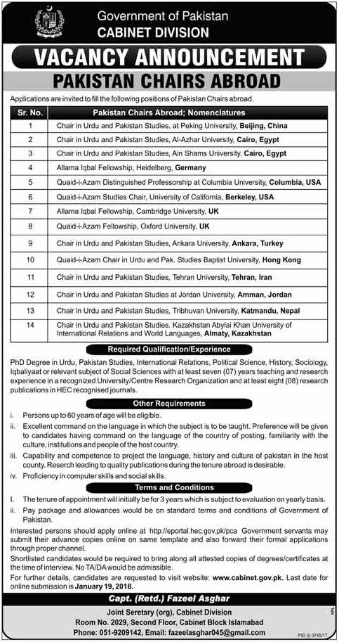 Cabinet Division Jobs 2018 for Pakistan Chairs Abroad