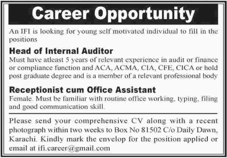 Head of Internal Auditor & Receptionist Jobs 2018