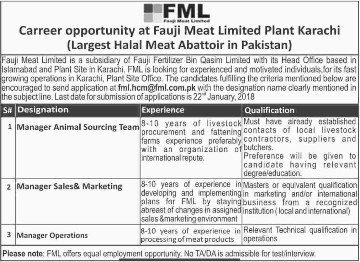 Fauji Meat Limited FML Jobs for Manager Sales & Marketing