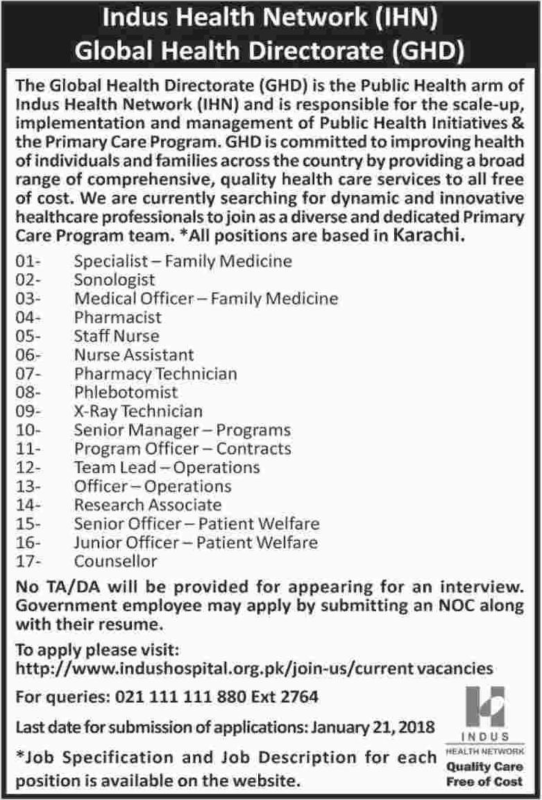 Indus Health Network IHN Jobs for Medical Officer & Nurse