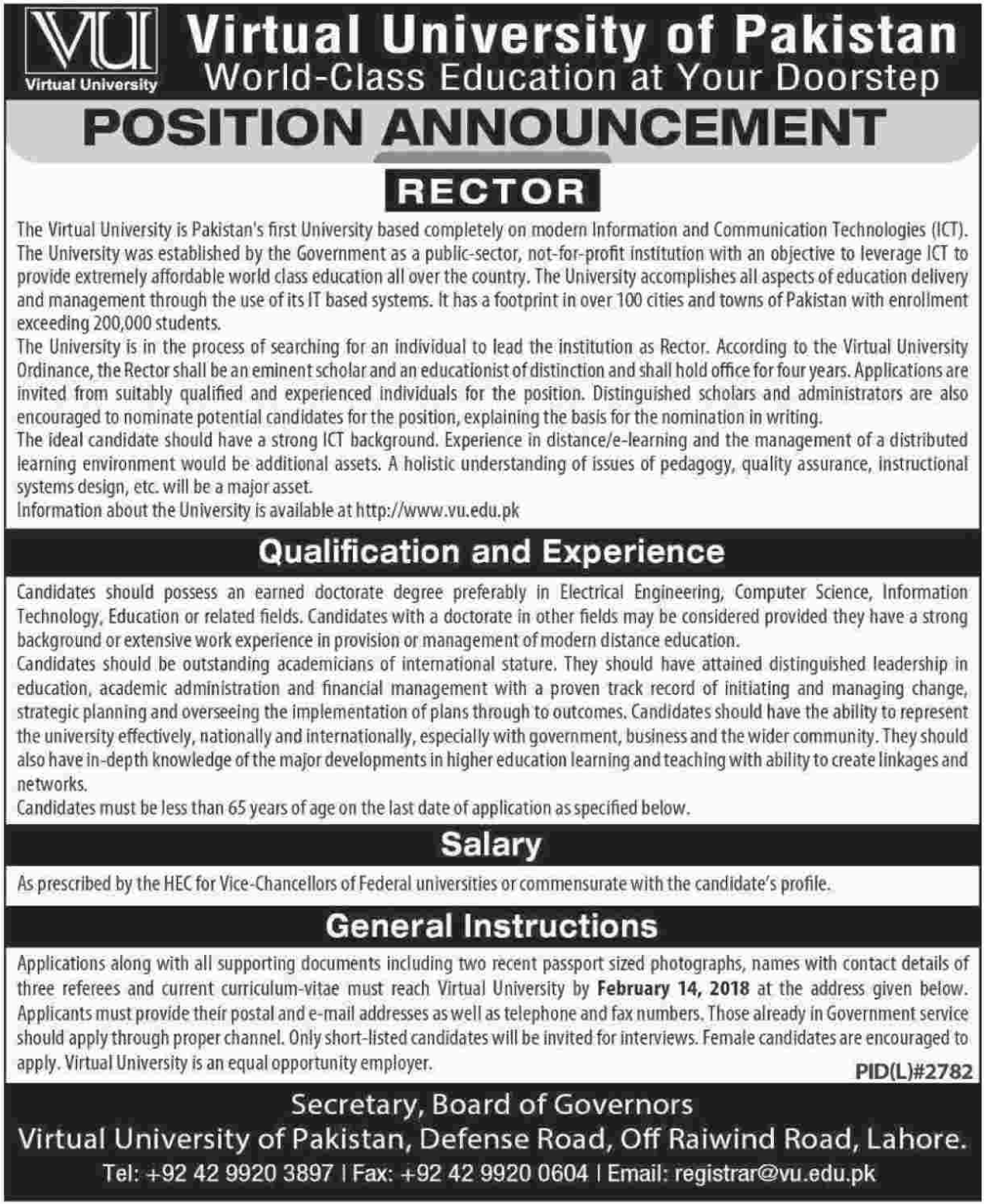 Virtual University of Pakistan Jobs 2018 for Rector