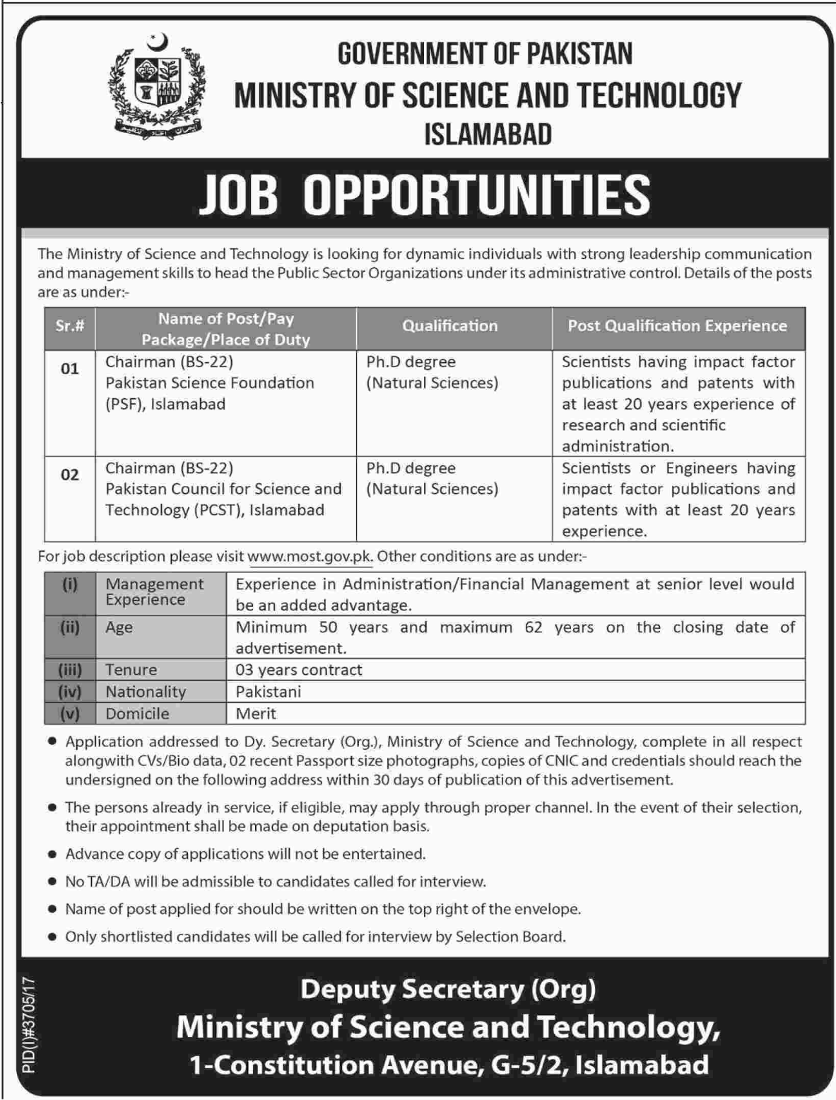 Chairman Jobs 2018 for Ministry of Science & Technology MOST