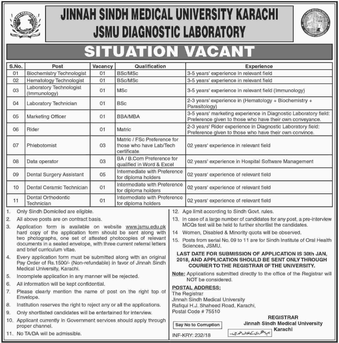 Jinnah Sindh Medical University JSMU Jobs for Technologist