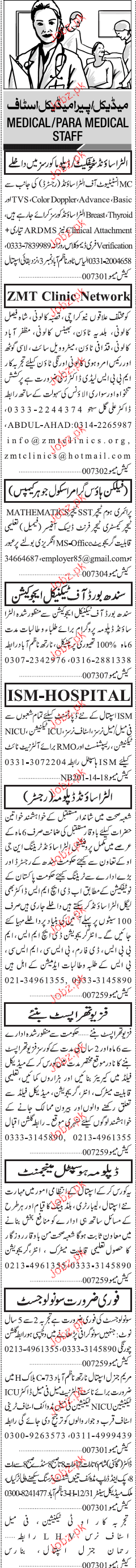 Lady Doctors, ICU Technicians, Staff Nurses Job Opportunity