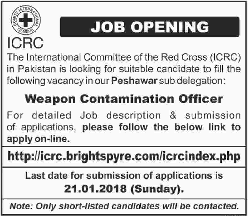 Weapon Contamination Officer Jobs 2018 ICRC