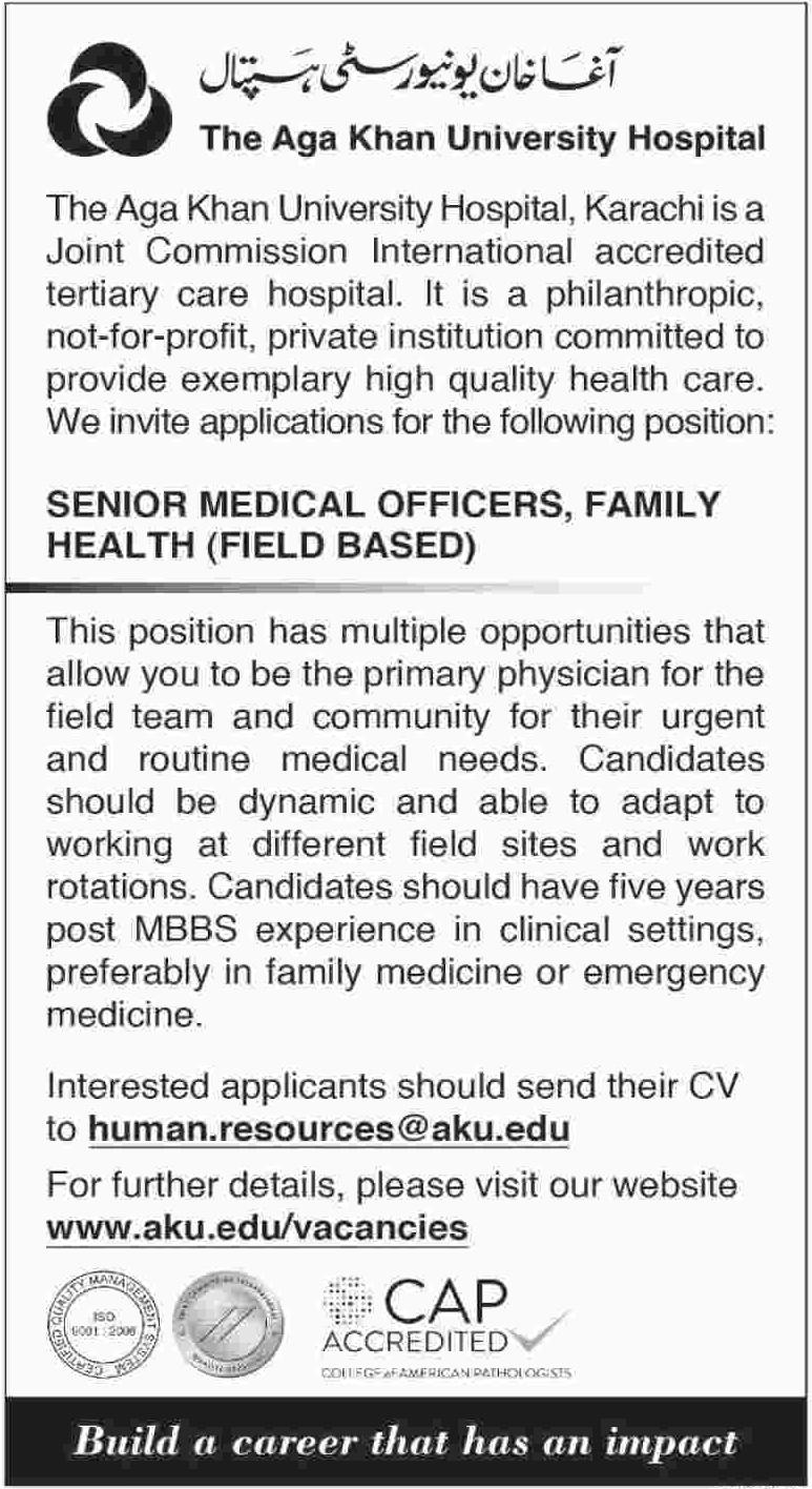 Senior Medical Officer Jobs 2018 in Aga Khan University
