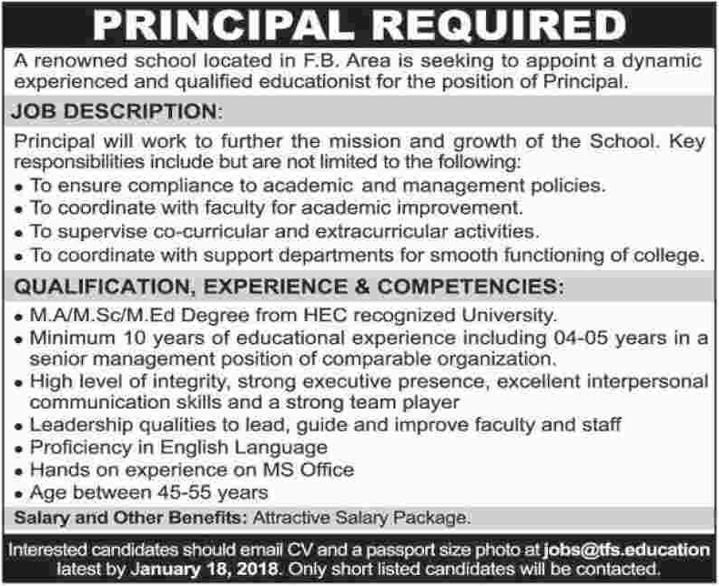 Principal required in Karachi