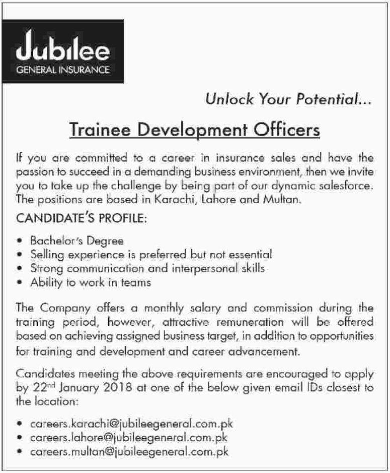 Jubilee Insurance Jobs 2018 Trainee Development Officer