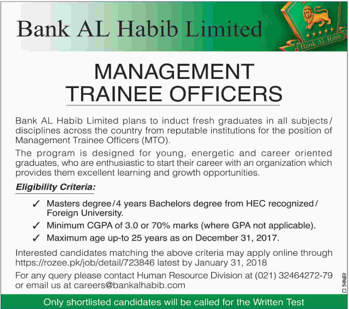 Bank AL Habib Jobs for Management Trainee Officer 2019 Job