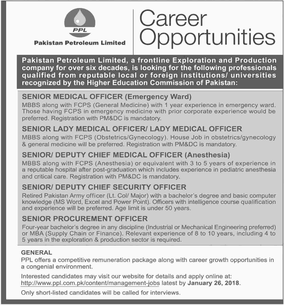 Pakistan Petroleum Jobs for Senior Medical Officer