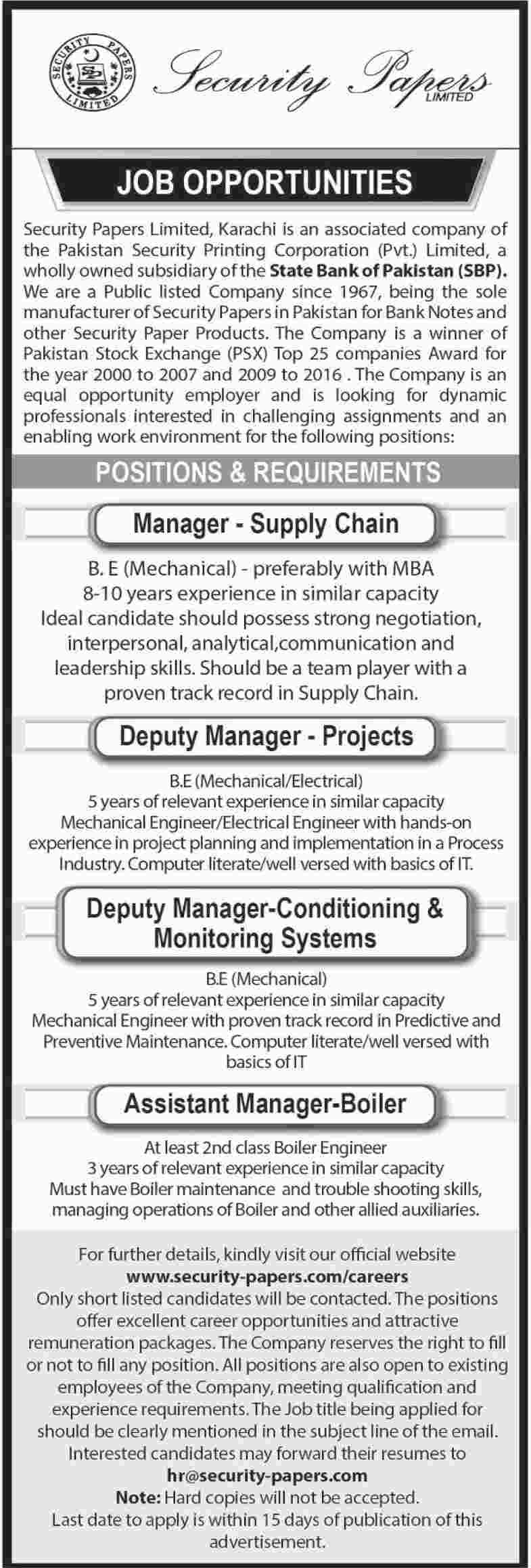 Security Papers Limited Jobs 2018 for Manager Supply Chain