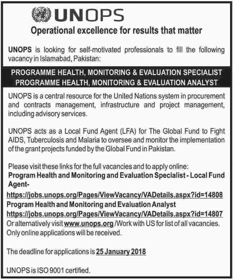 UNOPS Jobs 2018 for Monitoring & Evaluation Specialist