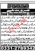 Bio technologists, Food Technologists Job Opportunity
