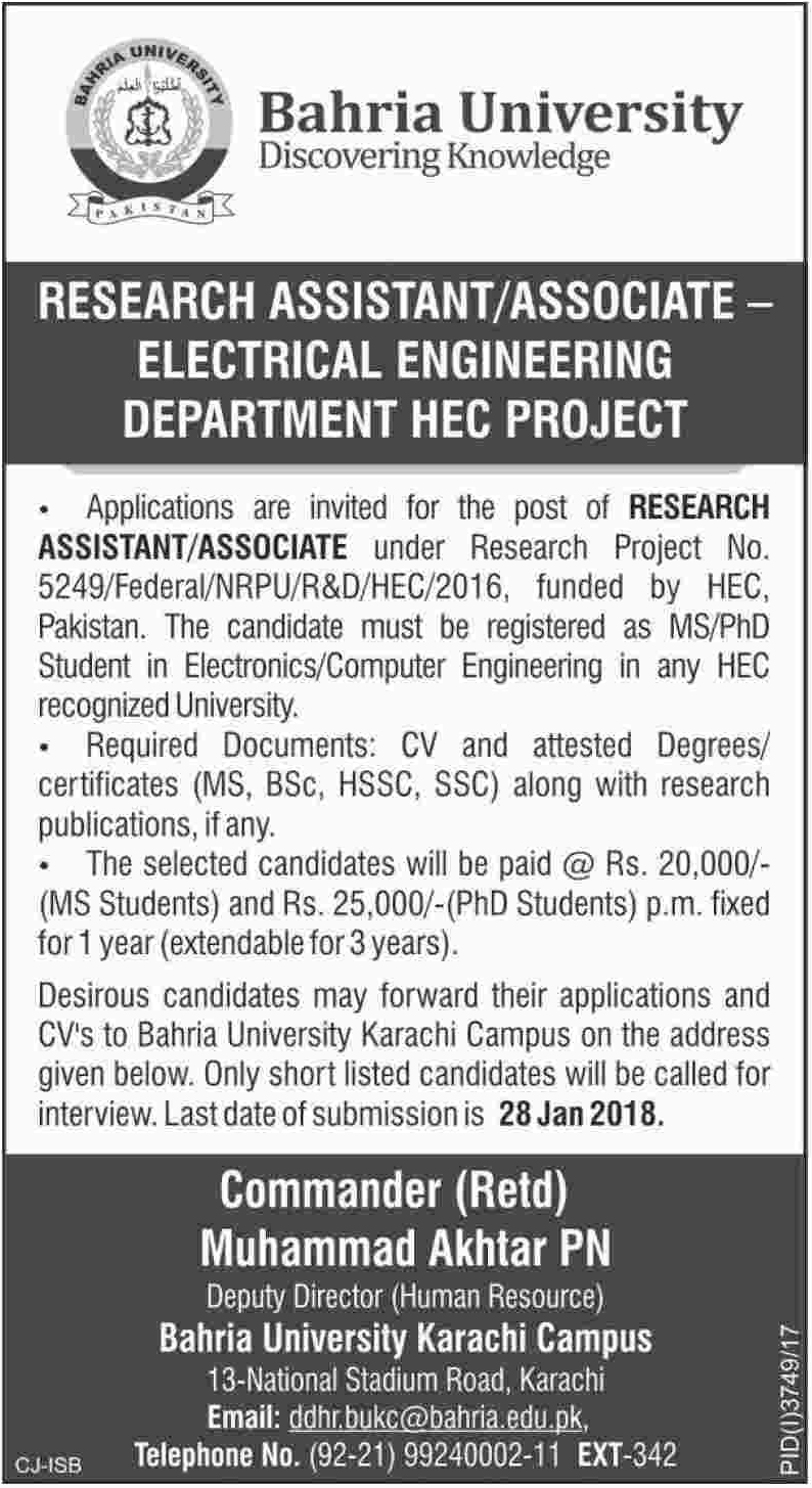 Bahria University Jobs 2018 for Research Assistant