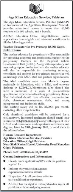 Aga Khan Education Service Required Teachers In Gilgit