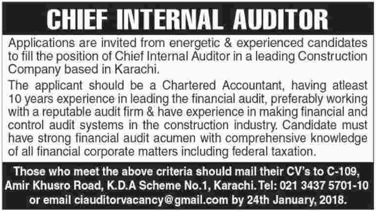 Chief Internal Auditor Jobs in Karachi