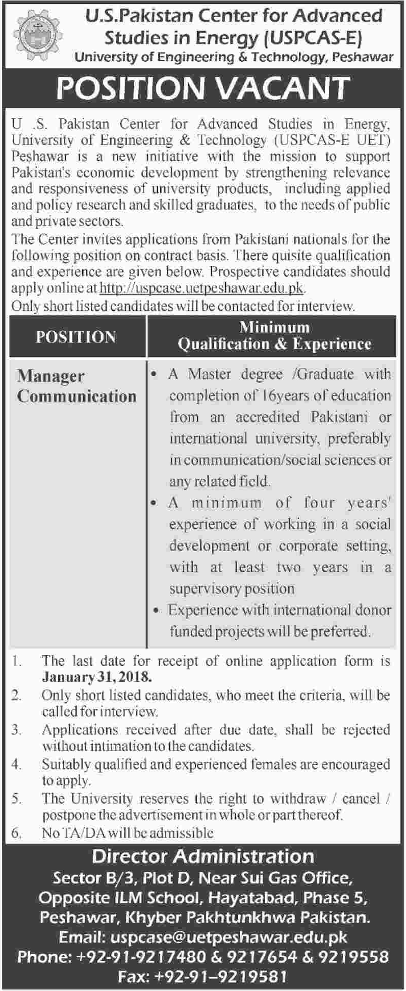Manager Communication Jobs in UET Peshawar