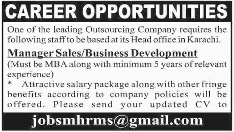 Manager Sales Jobs Opportunity in Karachi