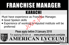 Franchise Manager Job Opportunity