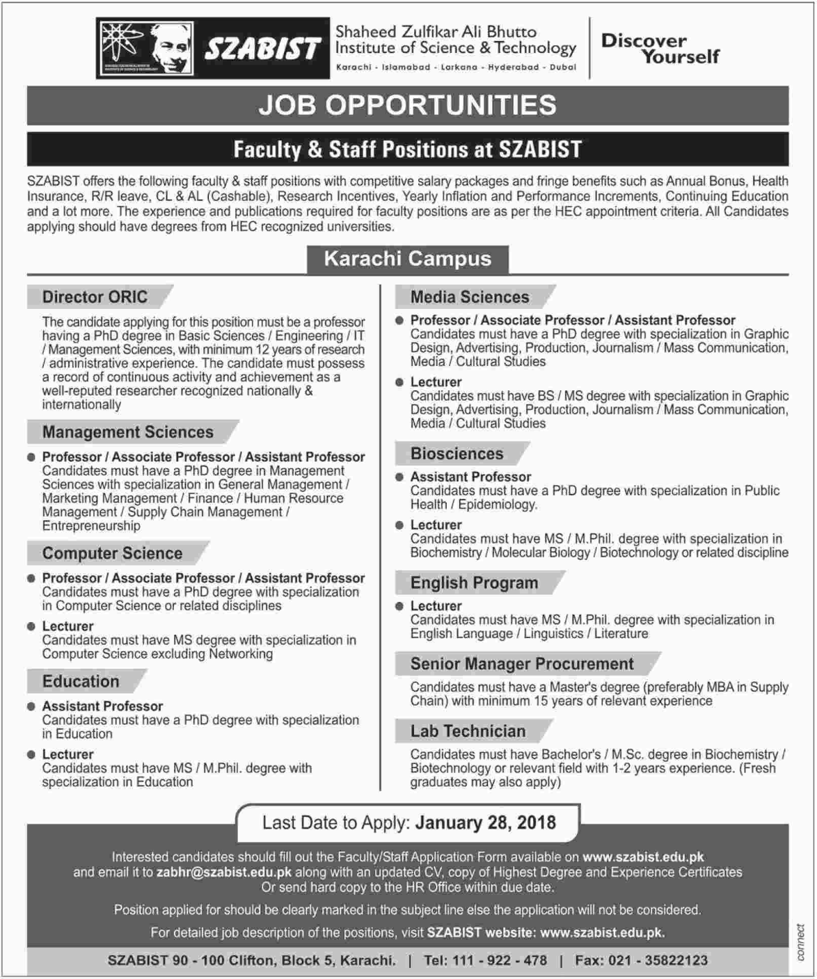 SZABIST University Jobs 2018 for Professor & Lab Technician