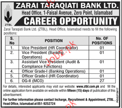 Zarai Tarakiati Bank Limited ZTBL Jobs