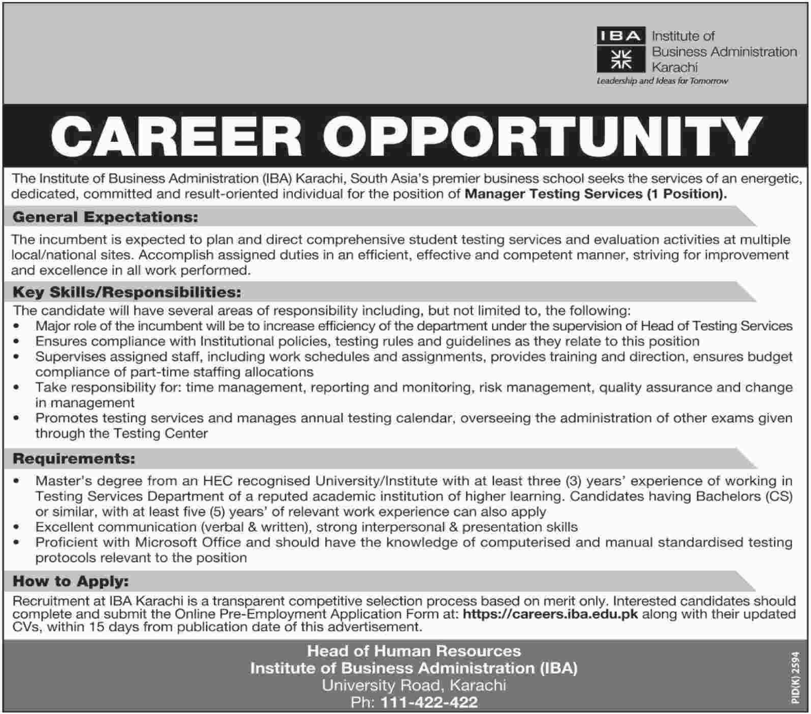 IBA University Jobs 2018 for Manager Testing Services