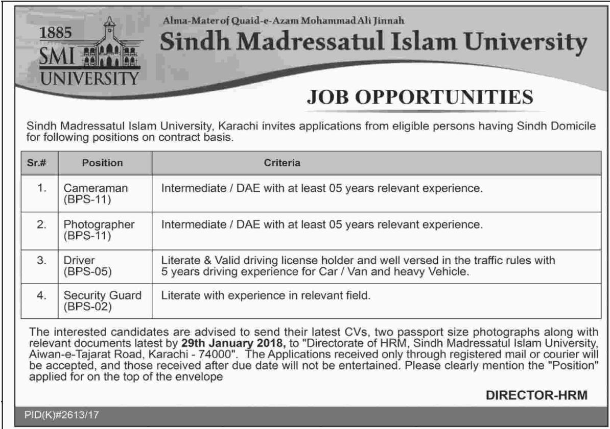 SIMU University Jobs of Cameraman & Photographer