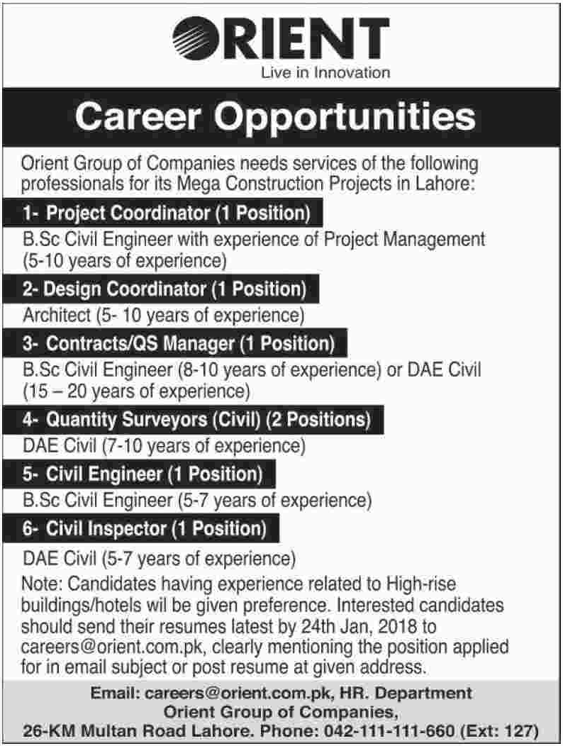 Project Coordinator & Design Coordinator Jobs Orient Group