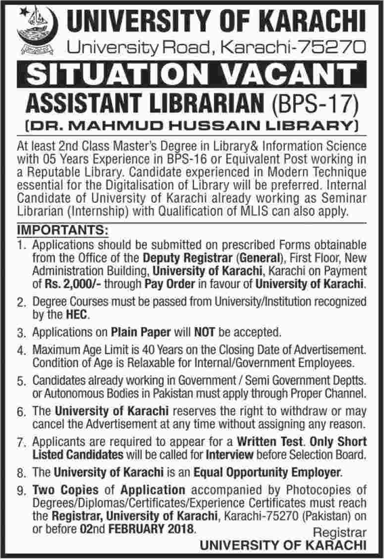 University of Karachi Jobs 2018 for Assistant Librarian