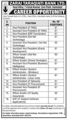 ZTBL Jobs 2018 for Vice President