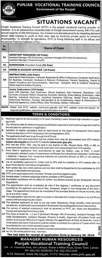 PVTC Jobs 2018 for Assistant Manager & Supervisor