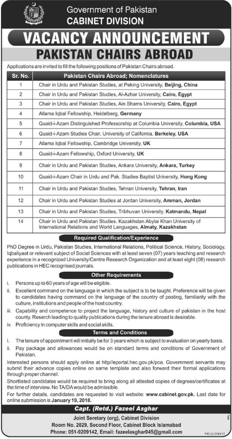 Cabinet Division Jobs 2018