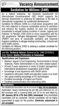 GIZ Pakistan Jobs 2018 for Technical Advisor