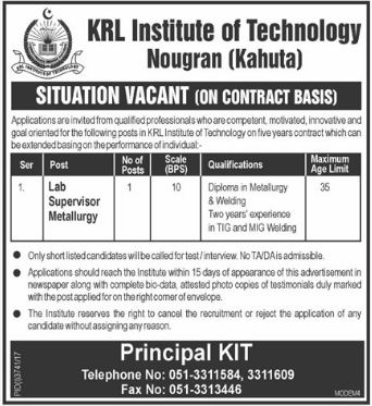 KRL Institute of Technology KIT Jobs for Lab Supervisor