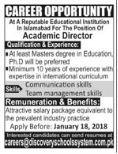 Academic Director Jobs 2018 in Islamabad
