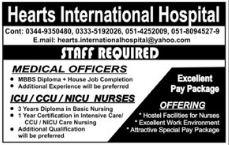 CCU Nurse & Medical Officer Jobs in Hearts International