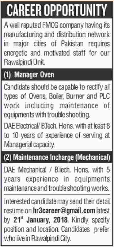Manager Oven & Maintenance Incharge Jobs 2018