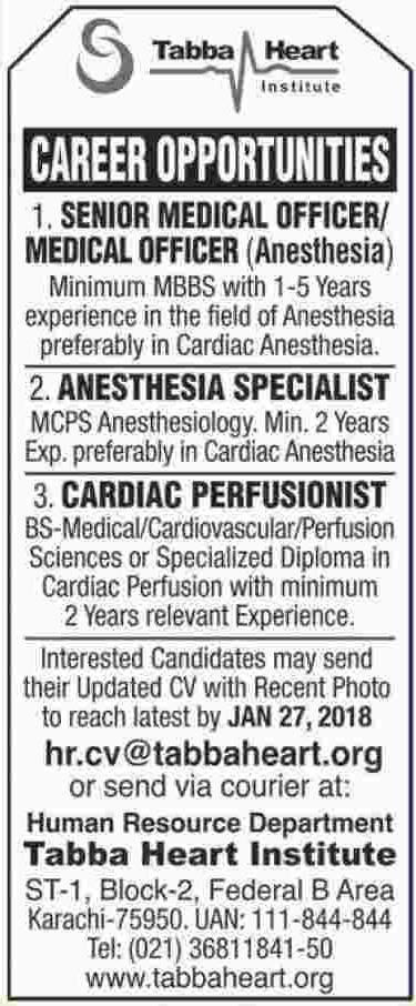 Sr Medical Officer, Anesthesia Specialist, Perfusionist Jobs