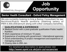 Senior Health Consultant Jobs in Oxford Policy Management