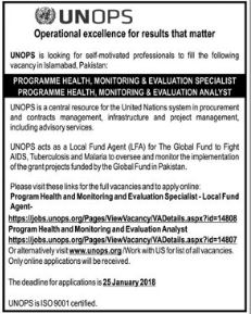 Monitoring & Evaluation Specialist Jobs 2018 for UNOPS